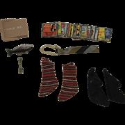 1960's Mattel Ken Accessories - Striped Tie, Socks, Albums, Tackle Box, Fish