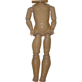 "Antique German Doll Body - 20"" long, 2"" diameter neck opening"