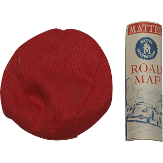 1962 Mattel Ken Rally Day Road Map and Red Cap