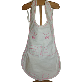 Vintage Hand Embroidered Doll-sized Bunnie Apron