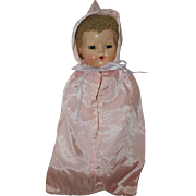 "1950's Pink Sateen Hooded Bunting - for 11"" Dy-Dee Baby, Tiny Tears, Betsy Wetsy"