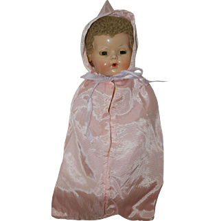 """1950's Pink Sateen Hooded Bunting - for 11"""" Dy-Dee Baby, Tiny Tears, Betsy Wetsy"""