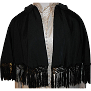 Victorian Fringed Cape with Jet Glass Beading Accent