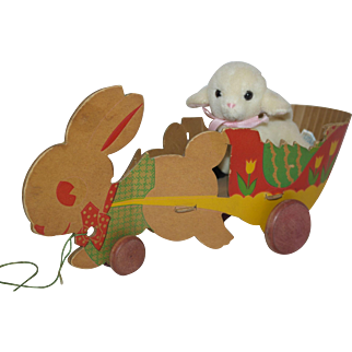 1930's - 40's Easter Bunny Pulling A Cart - and Lambie Friend