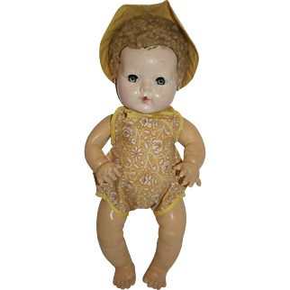 1940's Yellow Cotton Romper and Sun Hat - for Dy-Dee, Tiny Tears, etc