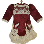 Vintage Burgandy Silk and Lace Bebe Dress
