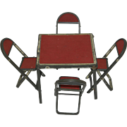 1950's Miniature Card Table and Four Fold-up Chairs