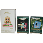 Three Barbie Hallmark Ornaments - in orig. Box