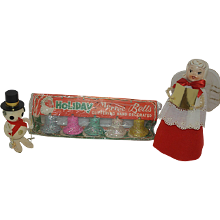 Vintage Christmas - Howard Holt Christmas Angel, Flocked Christmas Bells, and Japan Snowman
