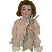 Vintage Stuffed Bunny with Celluloid Dollie Face