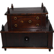 Two tiered Treen Thread Box with Bone Eyelets