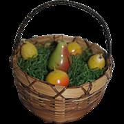 Larger Vintage Doll Basket with 1940's German Fruit