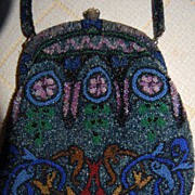 Textured Beaded Purse Art Deco Era Floral Lining!