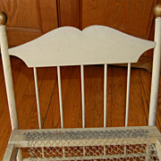 Vintage Folding Wooden Doll Bed with Wire Spring Bottom