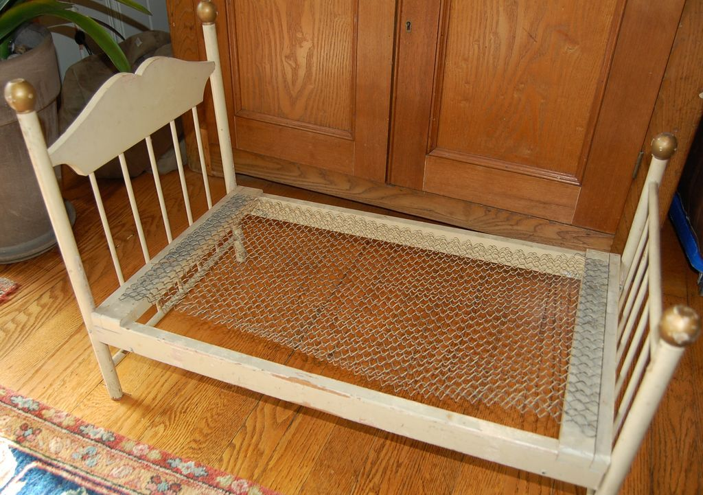 Vintage Folding Wooden Doll Bed with Wire Spring Bottom ...