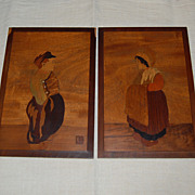 Little Dutch Boy and Girl Marquetry Art Plaques Signed Ernest Block