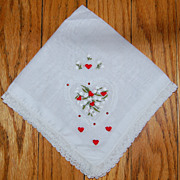 Vintage Lace Handkerchief with Hearts