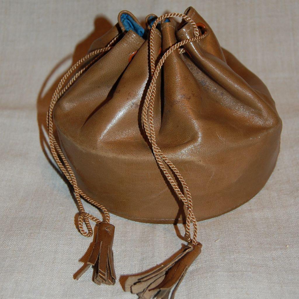 Sale The Deco Haus Tagged Blue: Antique Leather Collar Bag Or Drawstring Purse