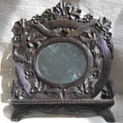 Antique Black Forest Mirror with Folding Shelf