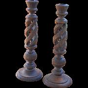 Vintage Hand Made Wood Candlesticks
