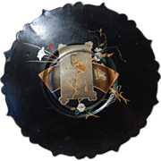 Victorian Aesthetic Chinoiserie Papier Mache Footed Plate