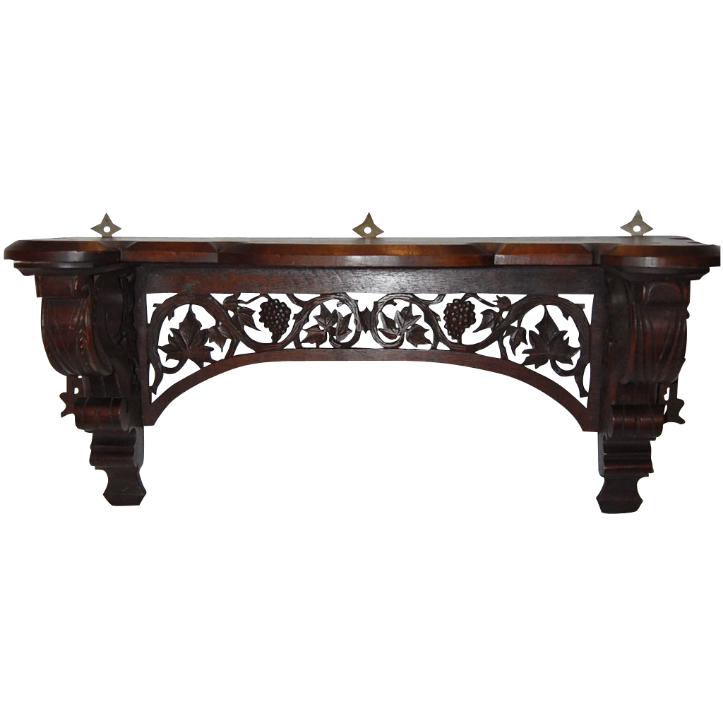 Fantastic Black Forest Walnut Carved Wall Shelf