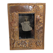 French Cast Bronze Sculptural Frame with Little Girl Tintype