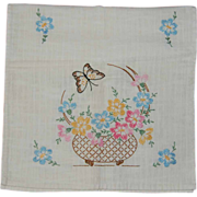 Embroidered Floral Dresser Scarf on Linen