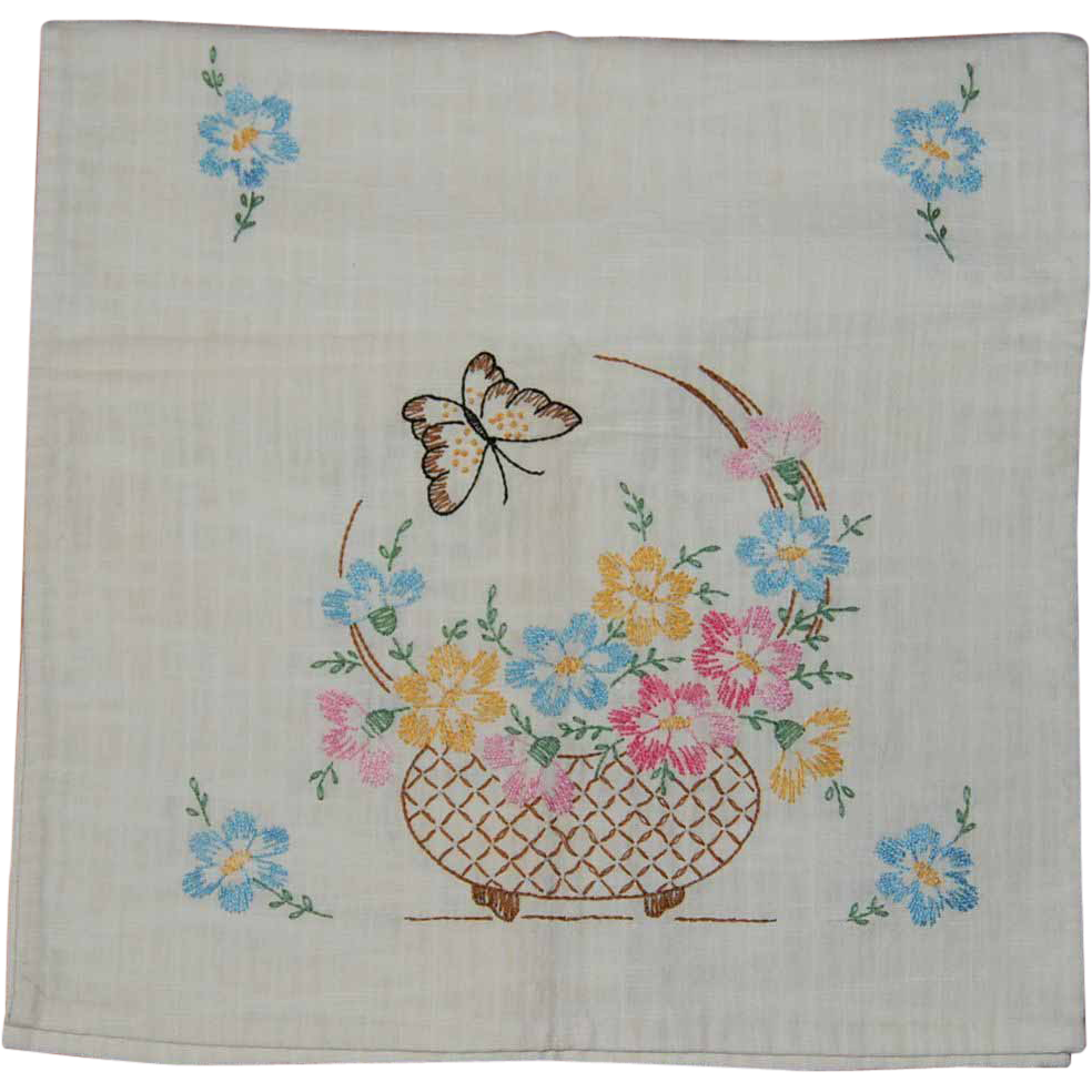 Embroidered floral dresser scarf on linen from