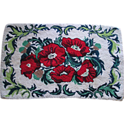Bold Red Poppy Hooked Rug