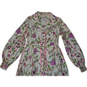 Mr Mort Stan Herman 1950's Floral Cotton Bathrobe Small