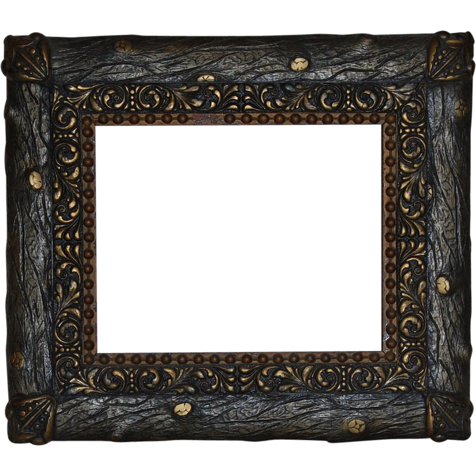 Rustic Faux Bois Wood And Gesso Gilt Picture Frame