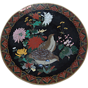 Unusual Black Background Cloisonne Quail Charger as is