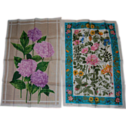 2 Irish Linen Spring Floral Towels
