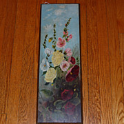 Victorian Hollyhock Oil Painting on board