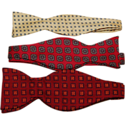 Three Vintage Silk Men's Bow Ties