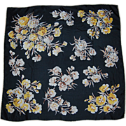 Yellow and White Carnations on Black Silk Scarf