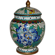 Chinese Cloisonne Covered Jar Blue Peony
