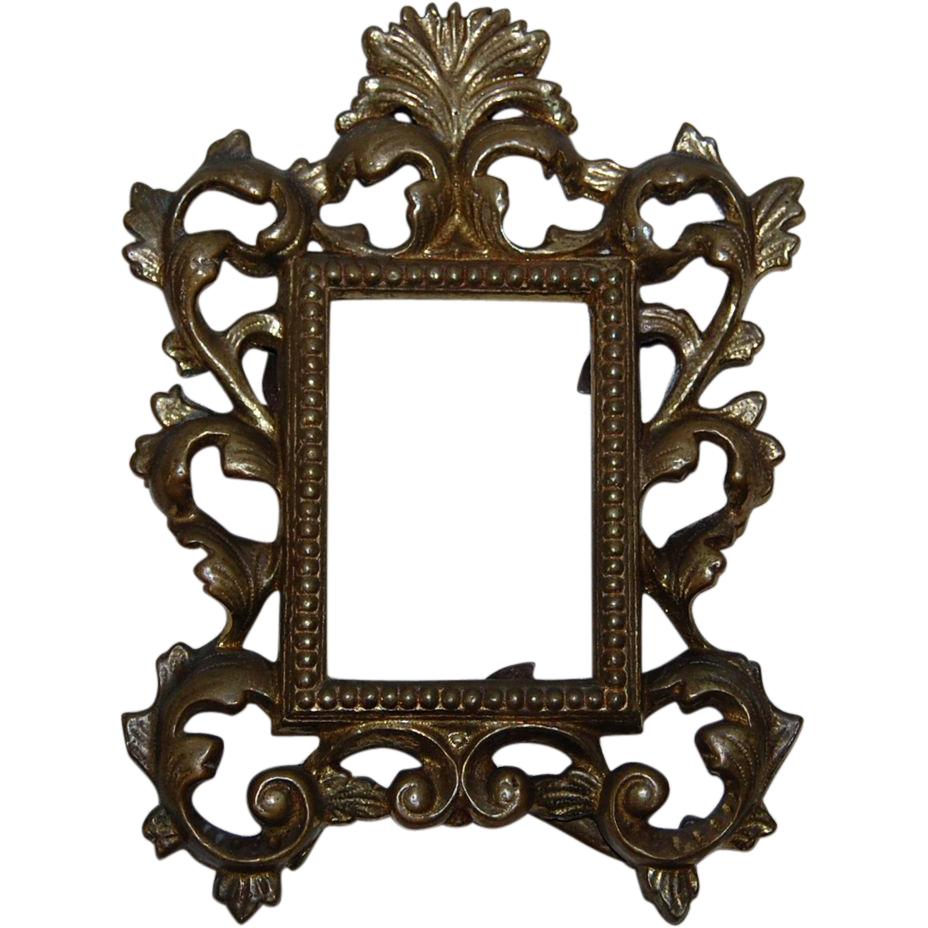 Antique Ornate Brass Table Picture Frame From
