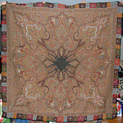 Antique Paisley Wool Shawl Scottish Kashmir Style