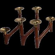 Mid Century Modern Wood Folding Candlesticks