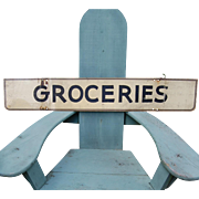 Vintage Two Sided Groceries Large Metal Sign