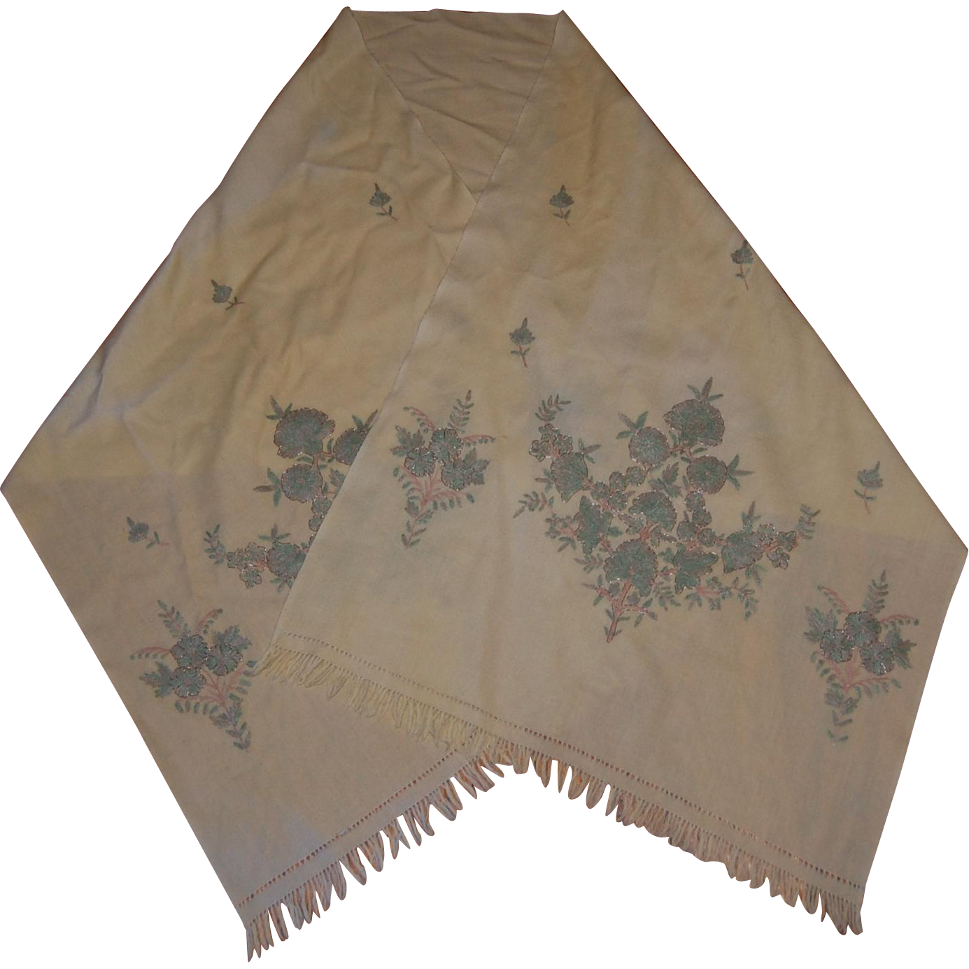 embroidered boiled wool india scarf stole from