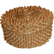 Iroquois Nation Lidded Basket Black Ash and Sweet Grass