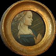 Renaissance Praying Woman in Round Italian Frame
