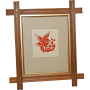 Scherenschnitte Red Bird and Berries in Old Frame
