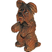 Anri Skye Silkie Terrier Carved Wood Begging Dog