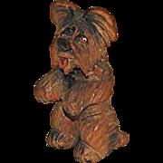 Anri Skye Silkie Terrier Carved Wood Begging Dog