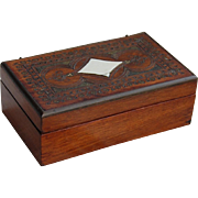 Rosewood Veneer Trinket Box with Brass Inlay