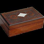 Rosewood Veneer Trinket Box with Brass Inlay